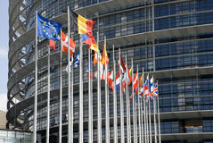 Europarliament. Flags of the countries of the European Union. Stock Photos