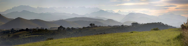 Europas peaks. Panoramic view of sunset over the Europas peaks, in the region of Cantabria in Spain Stock Image