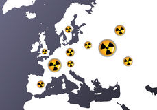 Europas with radiation signs Royalty Free Stock Images
