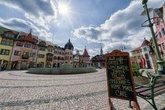 Europaställe i staden Komarno, Slovakien Arkivbild