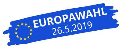 Europawahl 26.5.2019, German for 2019 European Parliament Election, blue brush stroke, EU flag, stars, oblique, banner royalty free stock image