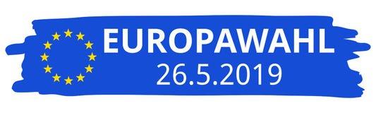 Europawahl 26.5.2019, German for 2019 European Parliament Election, blue brush stroke, EU flag, stars, straight banner stock images
