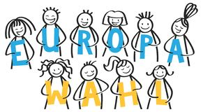EUROPAWAHL German for European Parliament Election, stick people holding blue and yellow letters royalty free stock photo