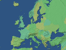 Europe. Green relief map of Europe Royalty Free Stock Image