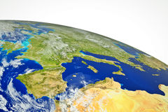 Europe. Real globe map. Europe with sea, land and mountains Royalty Free Stock Images