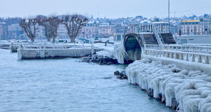 Europe 2012 Cold Snap. Geneva, Switzerland. Icicles and ice covering much of the Geneva lake front,  due to the unusual extreme low temperature in February 2012 Stock Images