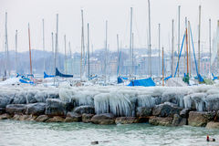 Europe 2012 Cold Snap. Geneva, Switzerland. Icicles and ice covering much of the Geneva's many marinas,  due to the unusual extreme low temperature in February Royalty Free Stock Photos