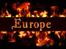 Europe. Framework of fire with Europe Royalty Free Stock Photos