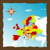 Europe. Map of the Europe and compass Royalty Free Stock Images