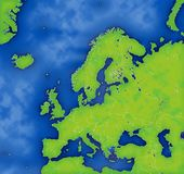 Europe. A Mercator projection of Europe showing country boundaries. This map was custom made using GMT (generic mapping tools) an open source mapping program Royalty Free Illustration