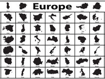 Europe. Vector silhouettes of European countries Royalty Free Stock Photo
