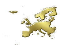 Europe 3d Golden Map Stock Photography