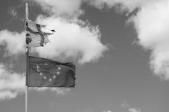 Europe abd sardinian flags bn Royalty Free Stock Photo