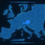 Europe abstract map. Austria highlighted. Vector background. Futuristic style map. Stock Photos