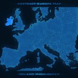 Europe abstract map. Ireland highlighted. Vector background. Futuristic style map. Elegant background for business presentations. Lines, point, planes in 3d Royalty Free Illustration