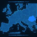 Europe abstract map. Romania highlighted. Vector background. Futuristic style map. Royalty Free Stock Photo