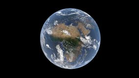 Europe and Africa behind the clouds on a realistic globe, isolated Earth on a black background, 3d rendering, the elements of this Royalty Free Stock Photography