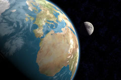 Europe, Africa and Moon with Stars. 1st quarter moon rising above Europe and Africa with stars in background. 3D computer generated image royalty free illustration