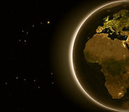 Europe and Africa at night. From Earth's orbit in space. 3D illustration with detailed planet surface and city lights. Elements of this image furnished by NASA Stock Images