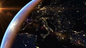 Europe and Africa at night stock video footage
