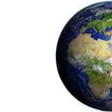 Europe and Africa on realistic model of Earth Stock Image
