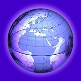 GLOBAL WARMING CLIMATE CHANGE POLLUTION. Wire Frame Globe of Europe and Africa on Blue Map Background global warming climate change pollutions Royalty Free Stock Photography