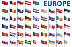 Europe - All Countries Flags. Europe countries flags - complete set isolated on white Stock Photos