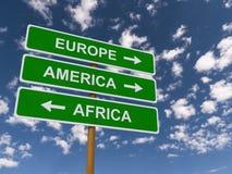 Europe, America, Africa  Stock Photography
