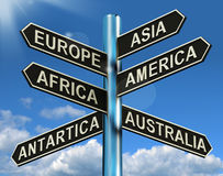 Europe Asia America Africa Antartica Australia Signpost Showing. Europe Asia America Africa Antartica Australia Signpost Shows Continents For Travel Or Tourism Royalty Free Stock Images