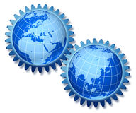 Europe and asia partnership. Gears representing the economic relationship between europe and asia stock illustration