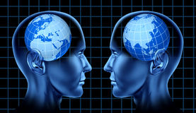 Europe asia trade meeting face to face global. Face to face europe and asia trade meeting symbol of two human heads Royalty Free Stock Photography