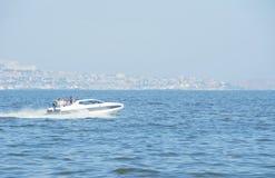 Europe, azerbaijan, baku, fast boat in caspian sea, aerial view Royalty Free Stock Image