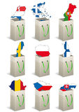 Europe bags. Illustration set of bags with europe country shape Royalty Free Stock Photos