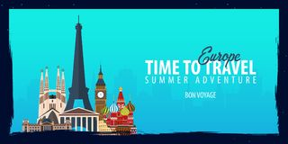 Europe banner. Time to Travel. Journey, trip and vacation. Vector flat illustration. Europe banner. Time to Travel. Journey, trip and vacation. Vector flat Royalty Free Stock Image