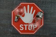 Light bulbs prohibited stock image