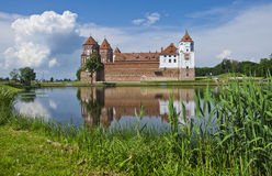 Europe, Belarus, history: Mir Castle Complex. Medieval castle in the settlement of Mir of the Grodno region. The fine stone castle, a picturesque reservoir, the Stock Photography