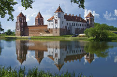 Europe, Belarus, history: Mir Castle Complex. Medieval castle in the settlement of Mir of the Grodno region. Fine stone castle, picturesque reservoir, coast Stock Photography