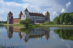 Europe, Belarus, history: Mir Castle Complex. Medieval castle in the settlement of Mir of the Grodno region. Fine stone castle, picturesque reservoir, coast Stock Image
