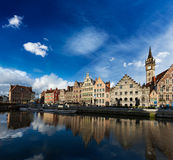 Ghent canal and Graslei street. Ghent, Belgium Stock Image