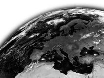 Europe on black Earth Stock Photos
