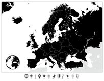 Europe Black Map and Flat Map Markers Stock Photography