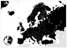 Europe Black Map. No text Stock Photography