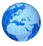 Europe blue earth globe. Isolated on white Royalty Free Stock Photo