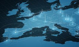 Europe blue map big data visualization. Futuristic map infographic. Information aesthetics. Visual data complexity. Complex europe data graphic visualization stock image