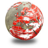 Europe on brick wall Earth Stock Photography