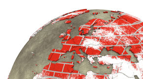 Europe on brick wall Earth Royalty Free Stock Images