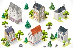 Europe Building Set Tint Cartoon Isometric 3d. European Historical Buildings Tint 3d Isometric Lowpoly Garden Trees. Build your Own Infographic Stock Photo