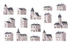 Europe buildings set flat design Stock Image