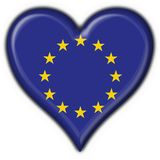 Europe button flag heart shape Royalty Free Stock Photo