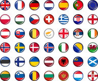 Europe Button Set. Set of vector graphic glossy buttons representing countries of Europe Stock Images
